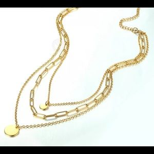 """Yellow Gold Plated 16"""" Long Layered Necklace"""